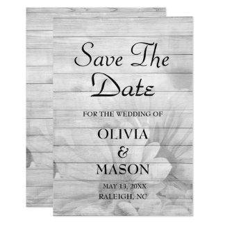 Save the Date - Elegant Wooden Flower textured Card