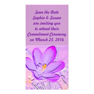 Save the Date Embossed Purple Crocus Cards Custom Photo Card