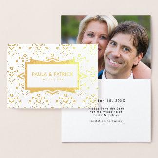 Save the Date Engagement Golden Art Deco Foil Card