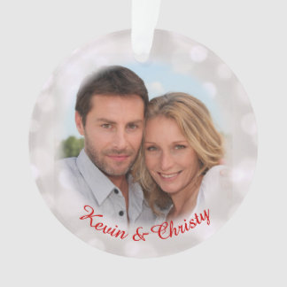 Save the Date Engagement Photo Holiday Ornament