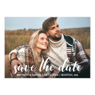 Save The Date Engagement Photo Modern Script Card
