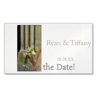 Save the Date Engagement ring and rose Magnetic Business Cards