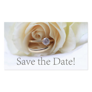 Save the Date Engagement ring and rose Pack Of Standard Business Cards