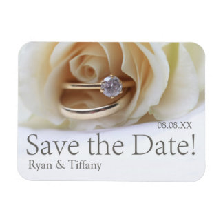 Save the Date Engagement ring and rose Rectangular Photo Magnet