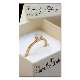Save the Date Engagement ring in box Magnetic Business Cards