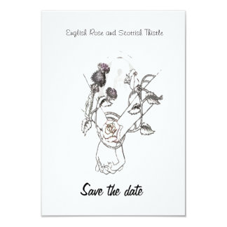 save the date English Rose and Scottish Thistle Card