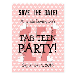 Save the Date FAB TEEN Birthday V17C PINK Postcard