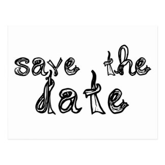 save the date fabric font black & white postcard