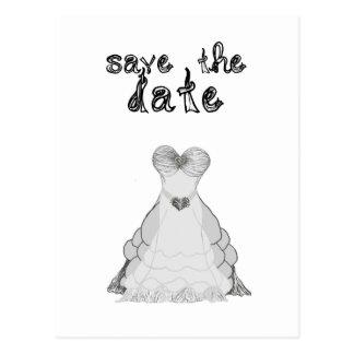 save the date fabric font wedding dress postcard