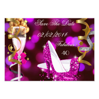 Save The Date Fabulous 40 Hot Pink Gold Bubbles Custom Invitations