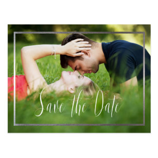 Save the Date Fake Silver Border Postcard