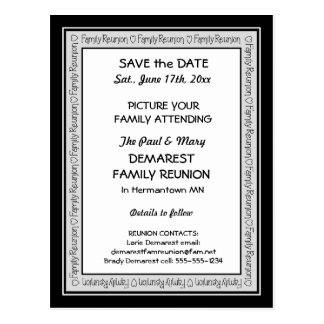 Save the Date Family Reunion Border Postcard