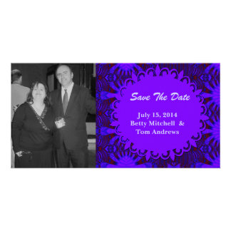 Save the Date Fancy Dark Purple Blue Abstract Personalized Photo Card
