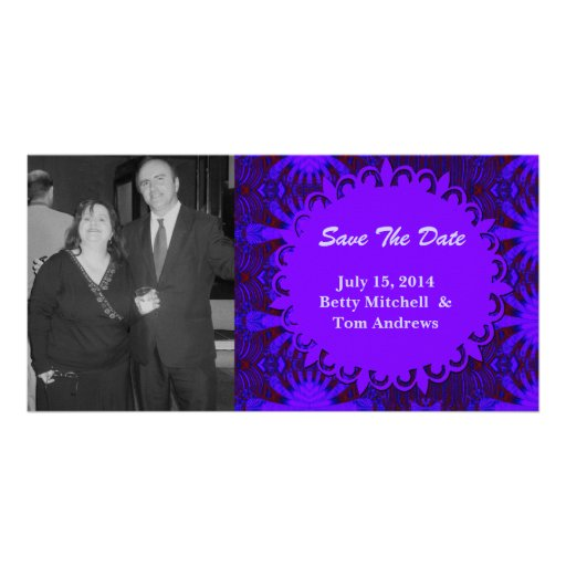 Save the Date Fancy Dark Purple Blue Abstract Photo Card Template