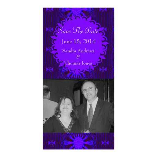 Save the Date Fancy Dark Purple Blue Abstract Photo Card