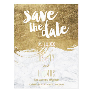 Save the Date faux gold foil brushstroke marble Postcard
