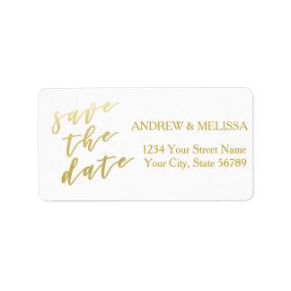 Save the Date | Faux Gold Script Address Label