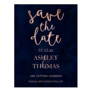 Save the Date faux Rose gold script navy blue Postcard
