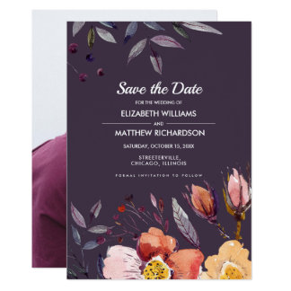 Save the Date. Floral Autumn Wedding Photo Cards