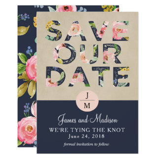 Save the Date floral navy and pink Card