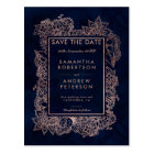 Save the Date floral rose gold navy watercolor Postcard
