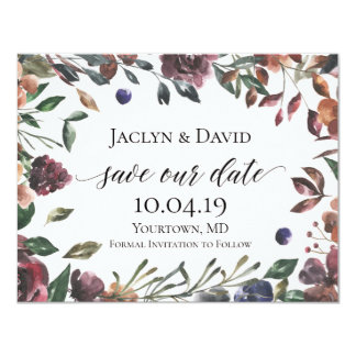 Save the Date Floral Spring Summer Watercolor Boho Card