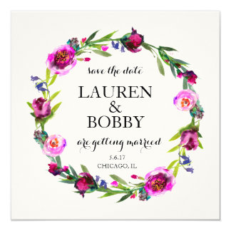 Save the Date - Floral Watercolor Wreath Frame Card