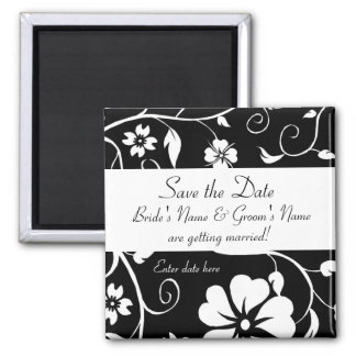Save the date - Floral Wedding Mag... - Customized Square Magnet