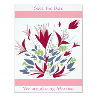 Save The Date Floral wedding stationary 11 Cm X 14 Cm Invitation Card