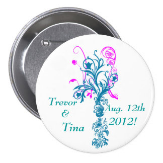 Save The Date Flourishing Dreams Large Round Pin
