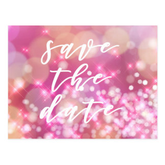 Save the date   Glamorous Pink Sparkles Postcard