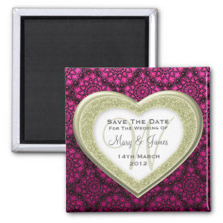 Save The Date Glitter Heart Gold Mod Lace Pink Square Magnet