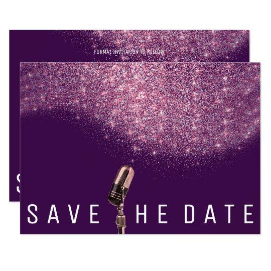 Save The Date Glitter Pink Purple Microphone Card