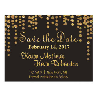 Save the Date | Gold Confetti Postcard