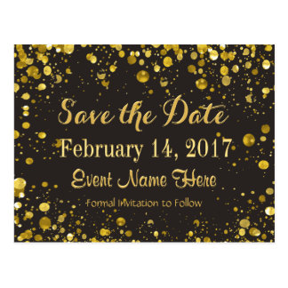 Save the Date   Gold Confetti Postcard
