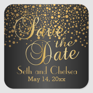 Save the Date Gold Dots and Black | Personalize Square Sticker