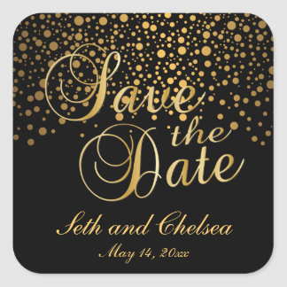 Save the Date Gold Dots | Personalize Square Sticker