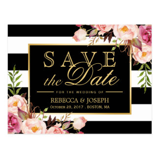 Save the Date - Gold Floral Black & White Stripes Postcard