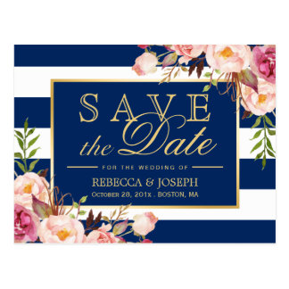 Save the Date - Gold Floral Navy Blue Stripes Postcard