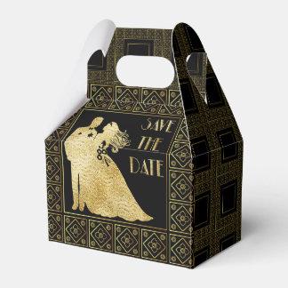 Save the Date Gold Foil & Black Wedding Favour Box