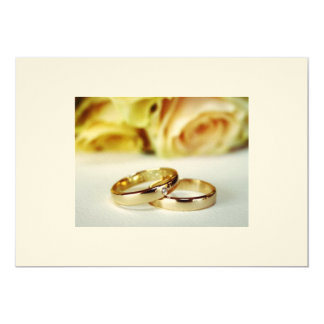 Save the Date/Gold Wedding Bands 13 Cm X 18 Cm Invitation Card