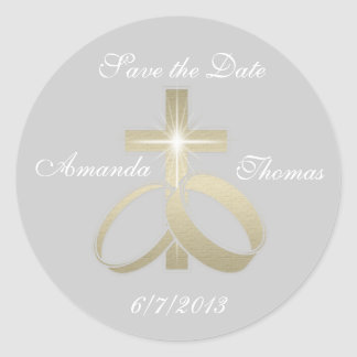 Save the Date Gold Wedding Rings and Cross Classic Round Sticker