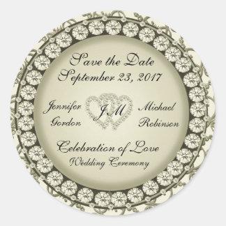 Save the Date Golden Hearts Round Sticker