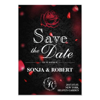 Save the Date - Gothic Black with Rose petals Card
