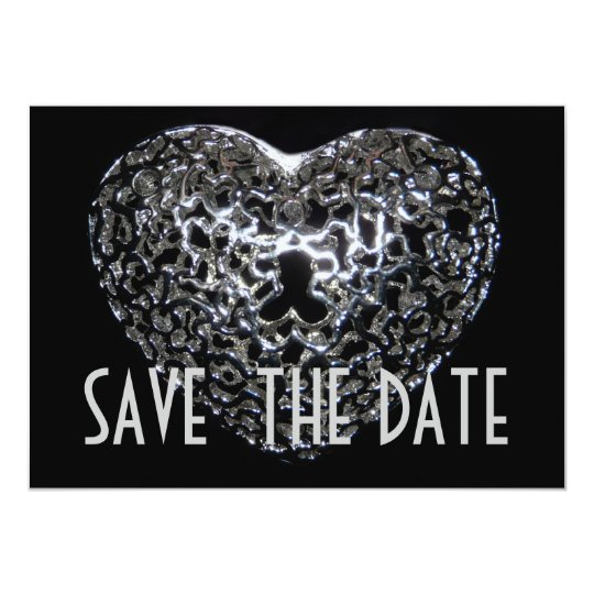Save the Date - Gothic Metal Heart Jewel Card