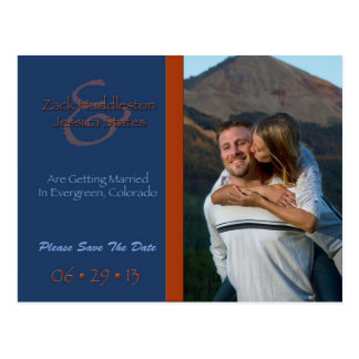 Save The Date Graphic Blue and Orange Postcards