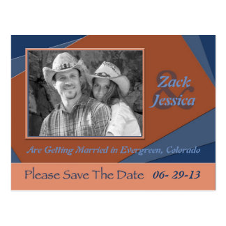 Save The Date Graphic Blue and Orange Post Card