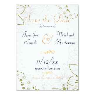 Save the Date Green and Gold Simple Wedding 11 Cm X 16 Cm Invitation Card