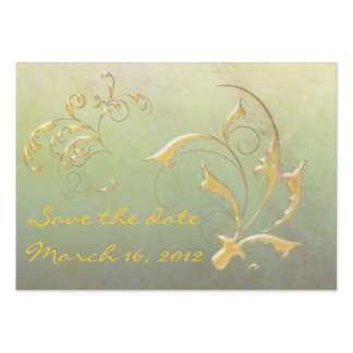 Save the Date green/gold Pack Of Chubby Business Cards