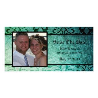 Save the Date Green Ornate Damask Photocard Custom Photo Card